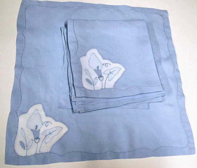 close up 4 vintage handmade table linens set blue organdy placemats, napkins, table runner