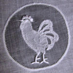vintage white organdy rooster cocktail napkins