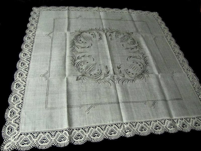 vintage beige linen tablecloth handmade lace and embroidery