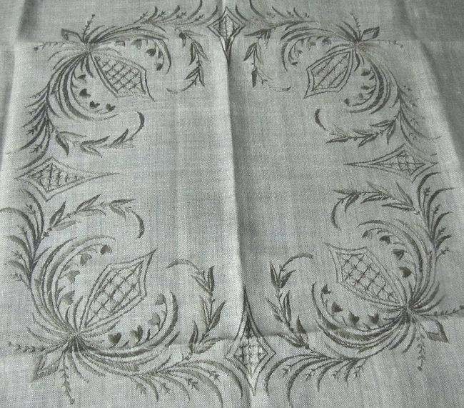 close up 2 vintage beige linen tablecloth handmade lace and embroidery
