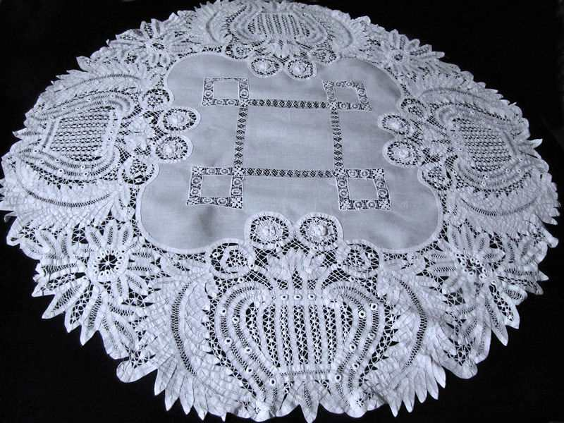 vintage antique white linen tablecloth with handmade lace