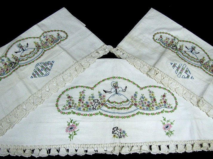 vintage hand embroidered sheet set with his and hers pillowcases Southern Belle