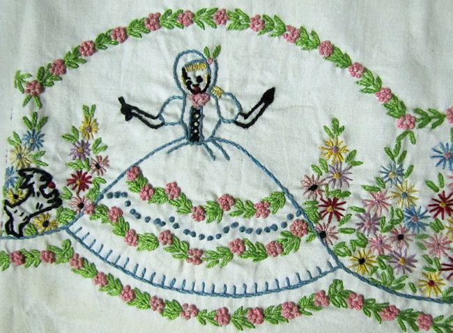 close up 3 vintage hand embroidered sheet set with his and hers pillowcases Southern Belle