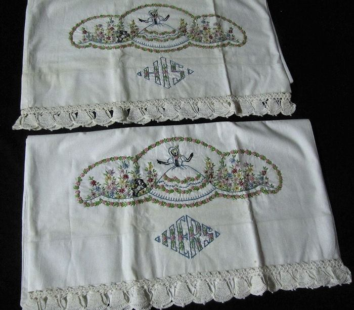 close up 4 vintage hand embroidered sheet set with his and hers pillowcases Southern Belle