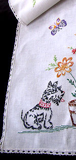 vintage antique table runner dresser scarf linen with Scotties
