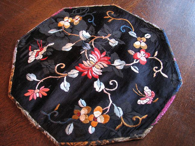 antique silk embroidered doily