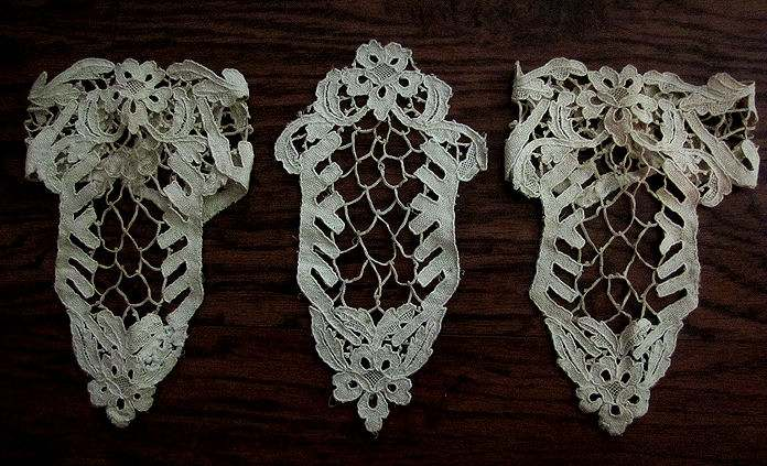 dress insert and matching cuffs handmade lace