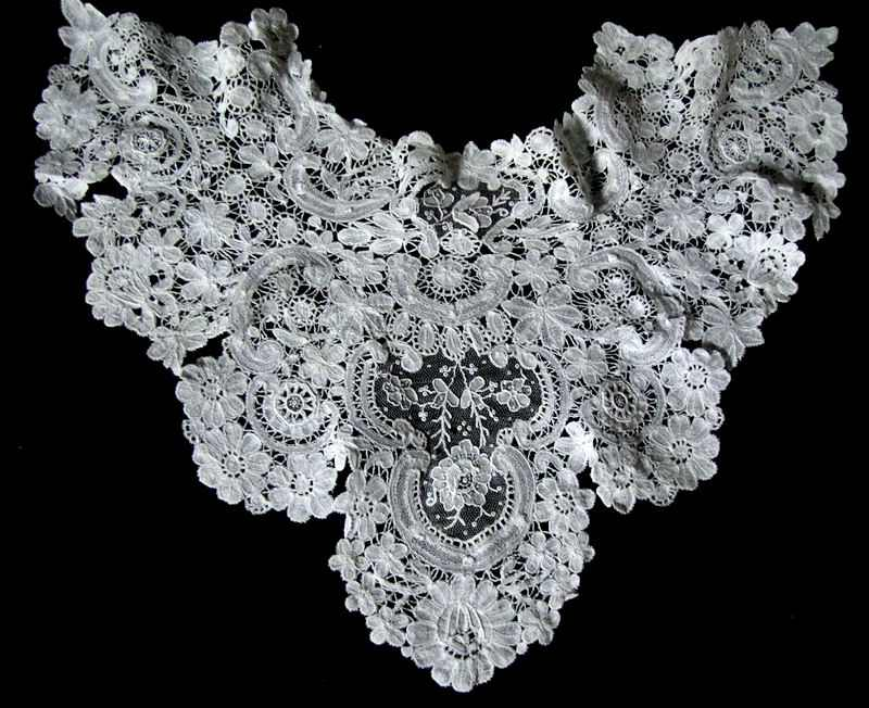 antique brussels point de venise lace collar