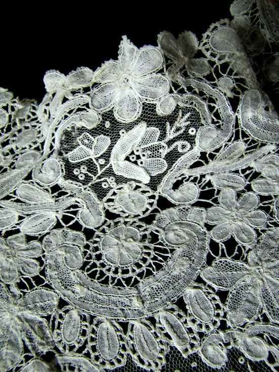 antique brussels point de venise lace collar close ulp 2