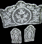 vanity or dresser set of 3 lace doilies