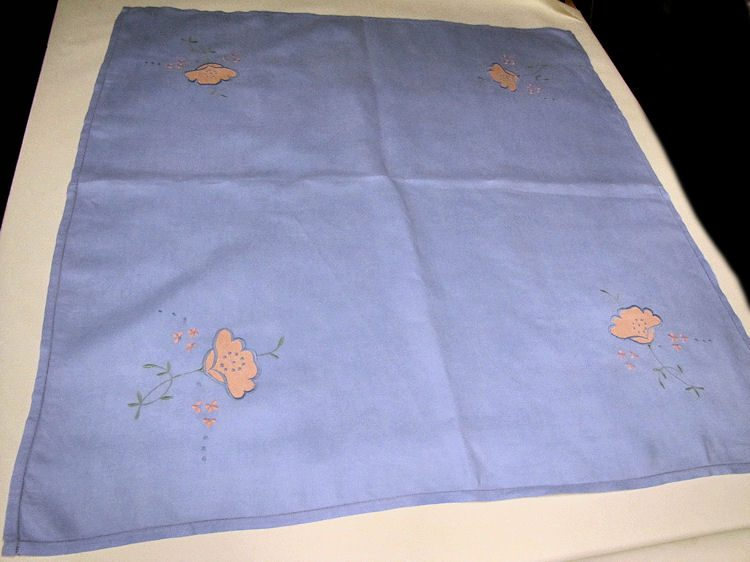 vintage handmade blue linen tablecloth