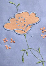 vintage antique handmade blue linen tablecloth