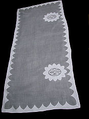 vintage organdy table runner dresser scarf