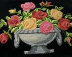 vintage hand embroidered pillow front picture