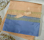 vintage blue satin lingerie folder bag