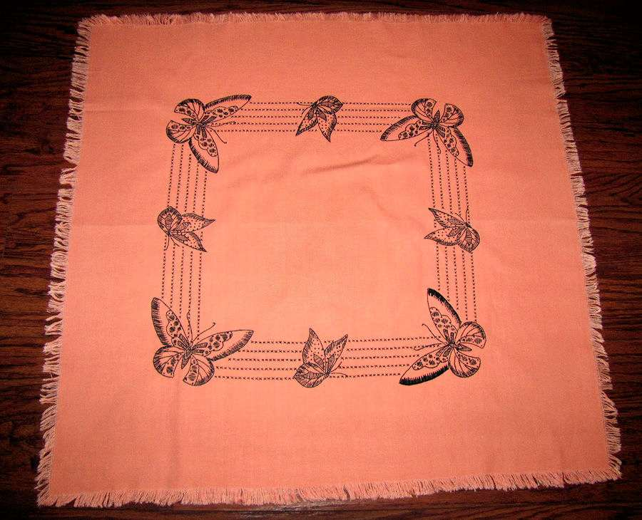 vintage antique linen table topper with hand embroidered butterflies