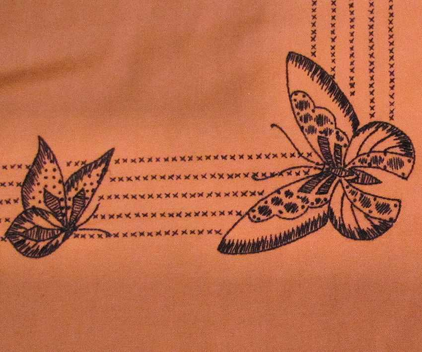 close up 2 vintage antique linen table topper with hand embroidered butterflies