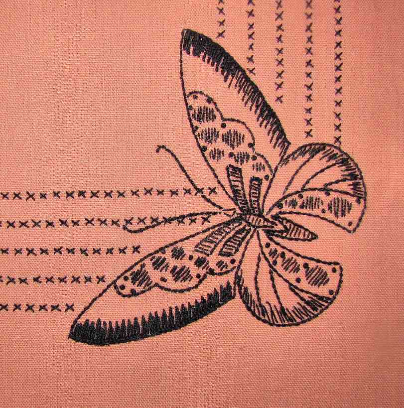 close up 3 vintage antique linen table topper with hand embroidered butterflies
