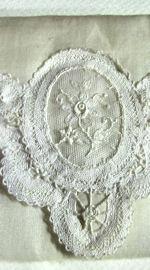 vintage antique Belgian lace hanky folder bag