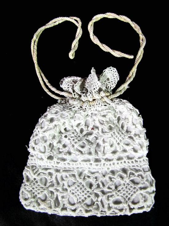 vintage antique drawstring bag handmade lace