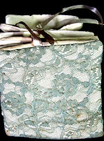 vintage lingerie folder for gloves white linen