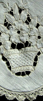 vintage antique linen table topper handmade cutwork lace