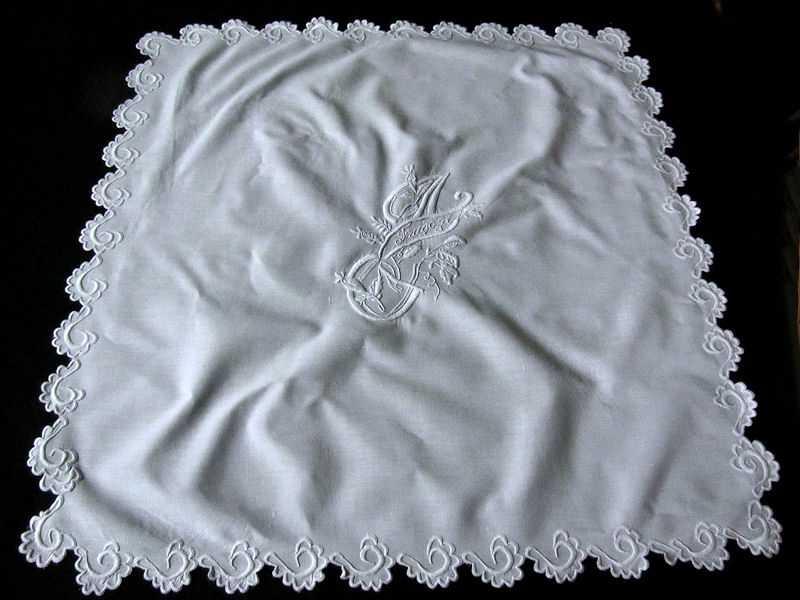 pair vintage handmade layover pillow shams whitework monogrammed J