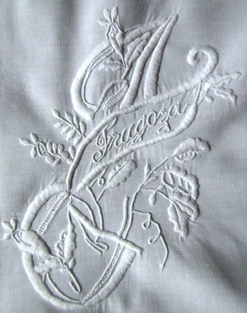 close up 2 pair vintage handmade layover pillow shams whitework monogrammed J