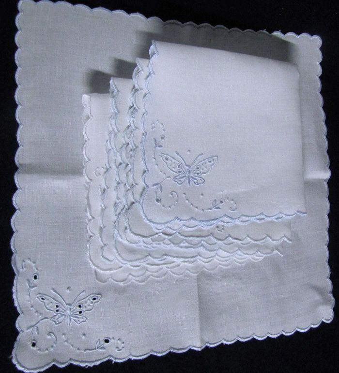 vintage figural lace Madeira white linen napkins