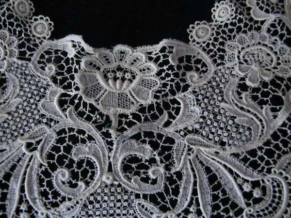 center close up Schiffli lace collar