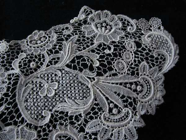 close up textured design vintage antique Schiffli lace collar