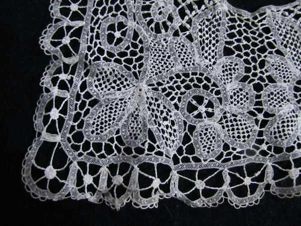 close-up corner handmade lace collar