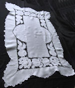 vintage white linen table runner dresser scarf
