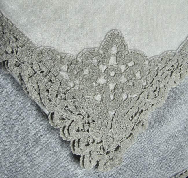 close-up corner lace on vintage linen dinner napkins
