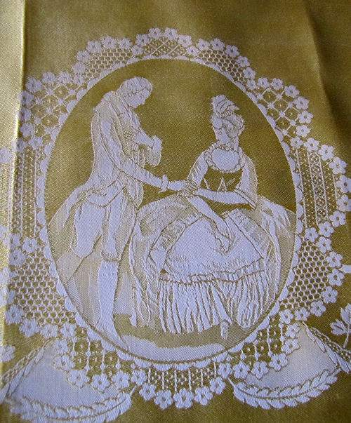 vintage figural damask woven napkins courting couple wedding bells