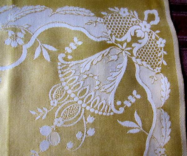 vintage figural damask napkins wedding bells
