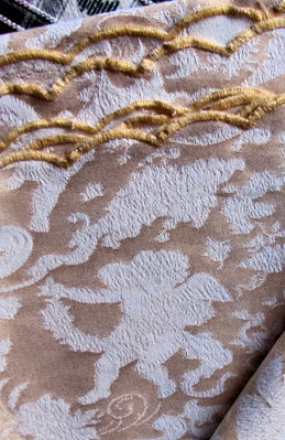 vintage figural damask tablecloth cherubs