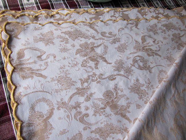 folded 2 vintage figural damask tablecloth cherubs