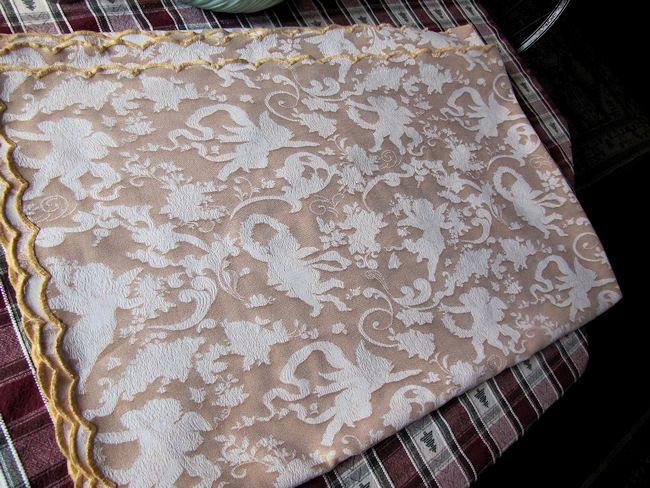 folded 3 vintage figural damask tablecloth cherubs