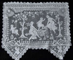 vintage antique figural lace doily girls cherubs white