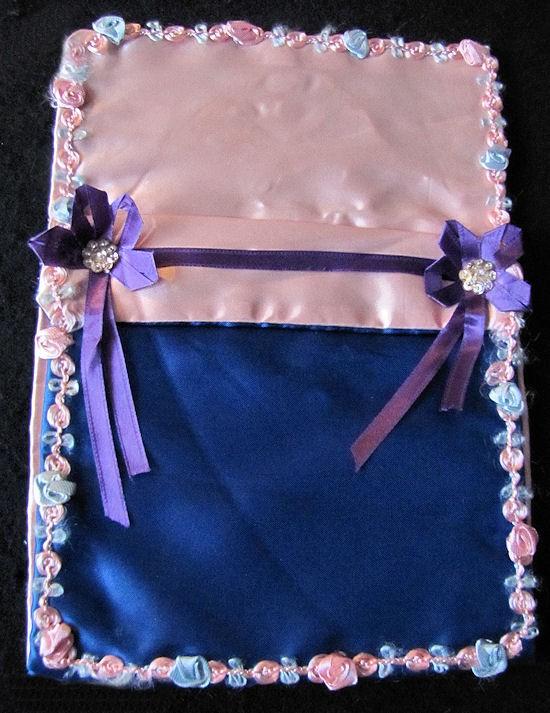 vintage hanky bag or folder hand decorated open