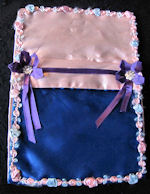 vintage blue and pink satin hanky bag