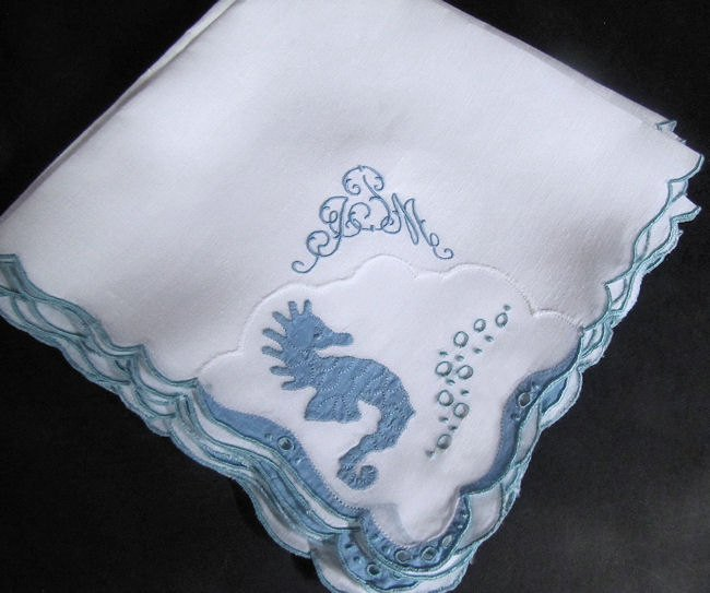 close up 2vintage placemats & napkins handmade lace and embroidery seahorses maybe Marghab
