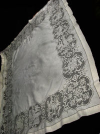 vintage antique figural lace tablecloth