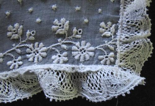 close up vintage antique Victorian pair of cuffs French lace and whitework