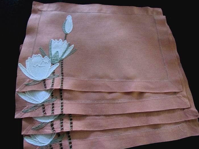 5 vintage linen placemats handmade