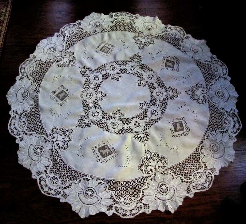 vintage antique handmade white linen tablecloth with figural lace