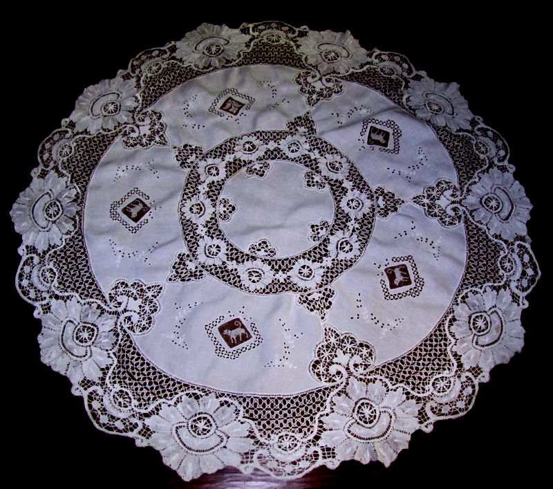 view 2 vintage antique handmade white linen tablecloth with figural lace