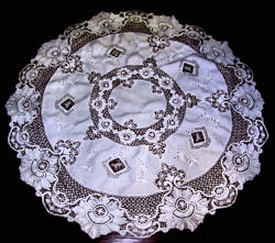 vintage antique round white linen tablecloth handmade figural lace