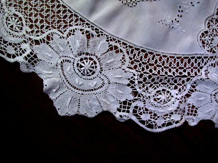 close up 1 vintage antique handmade white linen tablecloth with figural lace